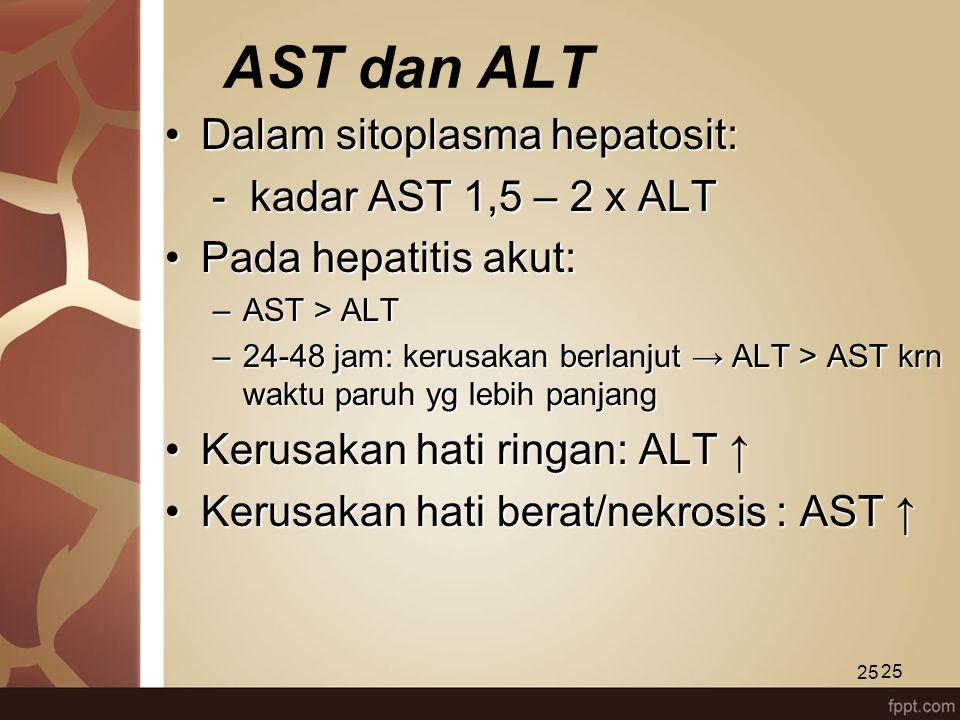 25 AST dan ALT Dalam sitoplasma hepatosit:Dalam sitoplasma hepatosit: - kadar AST 1,5 – 2 x ALT - kadar AST 1,5 – 2 x ALT Pada hepatitis akut:Pada hep