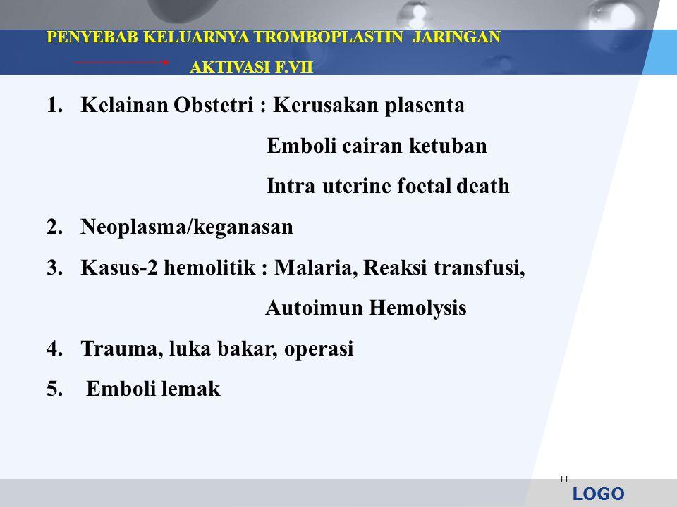 LOGO 11 PENYEBAB KELUARNYA TROMBOPLASTIN JARINGAN AKTIVASI F.VII 1.Kelainan Obstetri : Kerusakan plasenta Emboli cairan ketuban Intra uterine foetal d