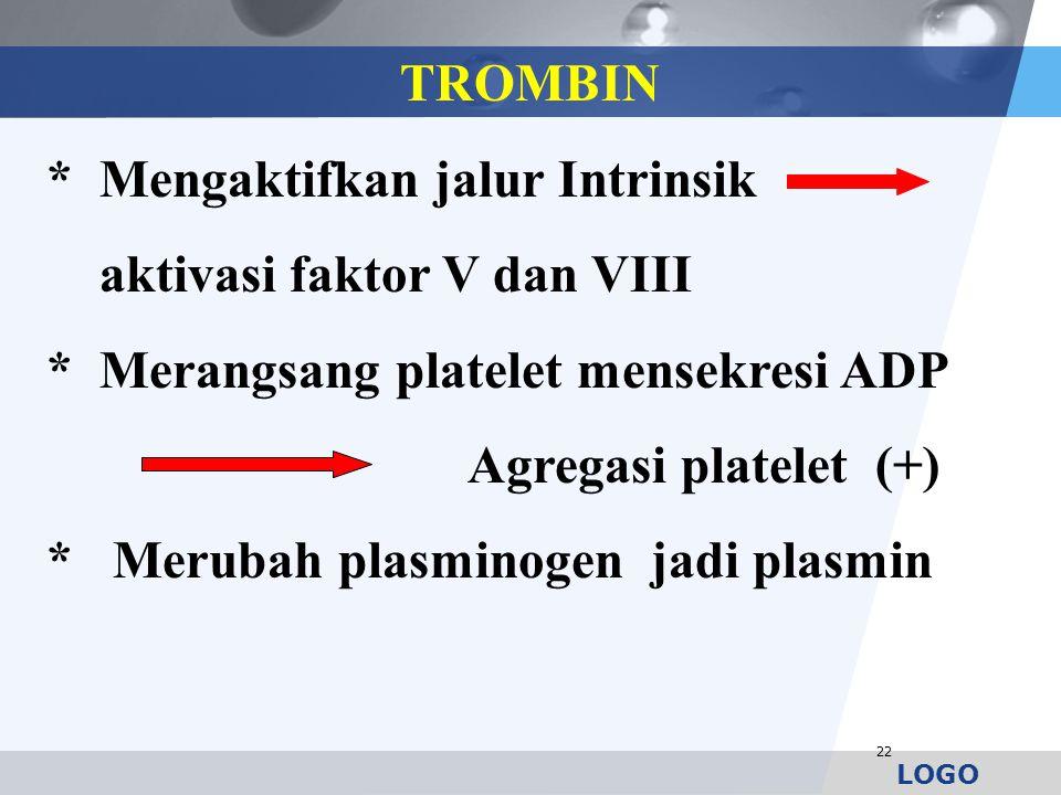 22 TROMBIN * Mengaktifkan jalur Intrinsik aktivasi faktor V dan VIII * Merangsang platelet mensekresi ADP Agregasi platelet (+) * Merubah plasminogen