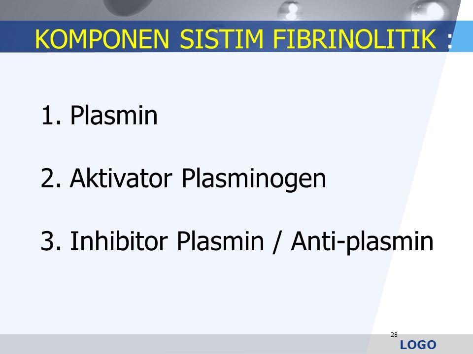 LOGO KOMPONEN SISTIM FIBRINOLITIK : 1.Plasmin 2.Aktivator Plasminogen 3.Inhibitor Plasmin / Anti-plasmin 28