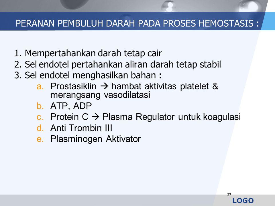 LOGO PERANAN PEMBULUH DARAH PADA PROSES HEMOSTASIS : 1. Mempertahankan darah tetap cair 2. Sel endotel pertahankan aliran darah tetap stabil 3. Sel en