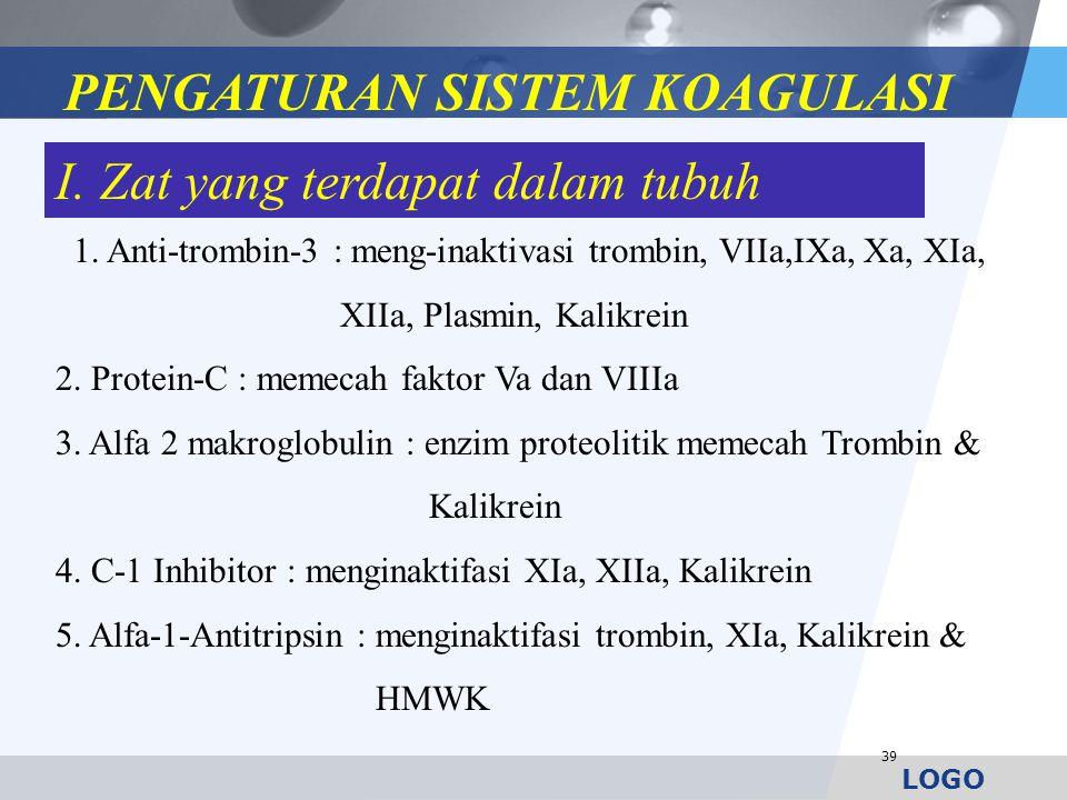 LOGO 39 1. Anti-trombin-3 : meng-inaktivasi trombin, VIIa,IXa, Xa, XIa, XIIa, Plasmin, Kalikrein 2. Protein-C : memecah faktor Va dan VIIIa 3. Alfa 2