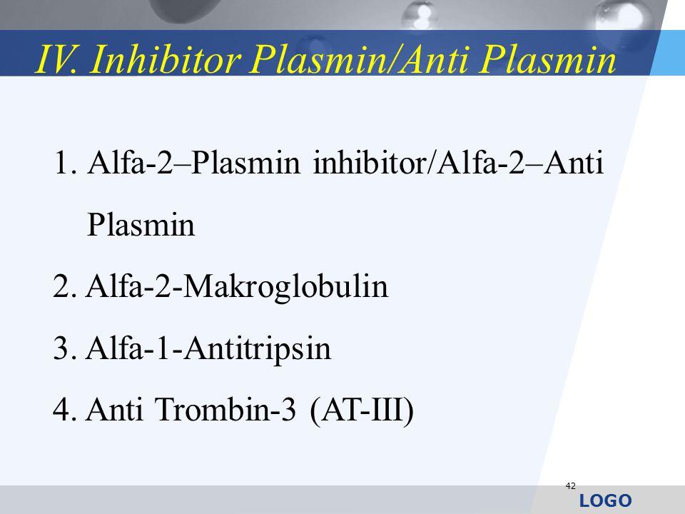 LOGO 42 1.Alfa-2–Plasmin inhibitor/Alfa-2–Anti Plasmin 2. Alfa-2-Makroglobulin 3. Alfa-1-Antitripsin 4. Anti Trombin-3 (AT-III) IV. Inhibitor Plasmin/