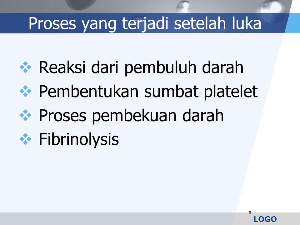 LOGO Proses yang terjadi setelah luka  Reaksi dari pembuluh darah  Pembentukan sumbat platelet  Proses pembekuan darah  Fibrinolysis 5