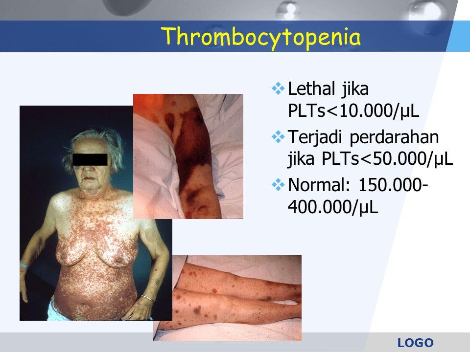 LOGO Thrombocytopenia  Lethal jika PLTs<10.000/µL  Terjadi perdarahan jika PLTs<50.000/µL  Normal: 150.000- 400.000/µL