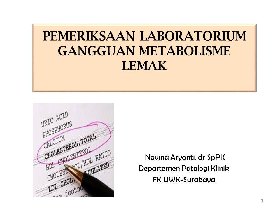 PEMERIKSAAN LABORATORIUM GANGGUAN METABOLISME LEMAK Novina Aryanti, dr SpPK Departemen Patologi Klinik FK UWK-Surabaya 1