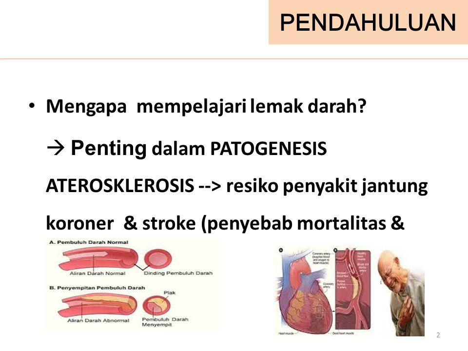 PENDAHULUAN Mengapa mempelajari lemak darah?  Penting dalam PATOGENESIS ATEROSKLEROSIS --> resiko penyakit jantung koroner & stroke (penyebab mortali