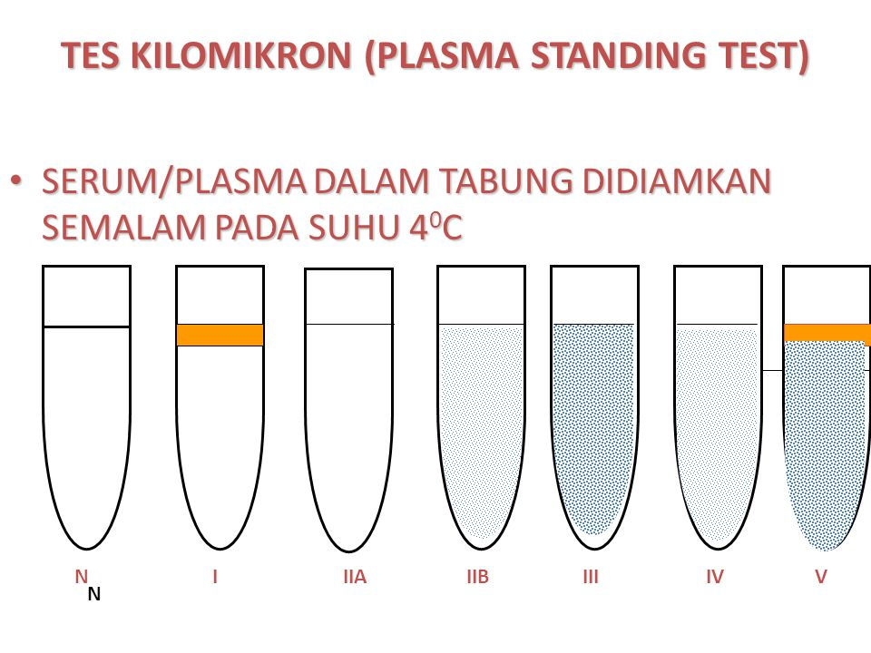 TES KILOMIKRON (PLASMA STANDING TEST) SERUM/PLASMA DALAM TABUNG DIDIAMKAN SEMALAM PADA SUHU 4 0 C SERUM/PLASMA DALAM TABUNG DIDIAMKAN SEMALAM PADA SUH