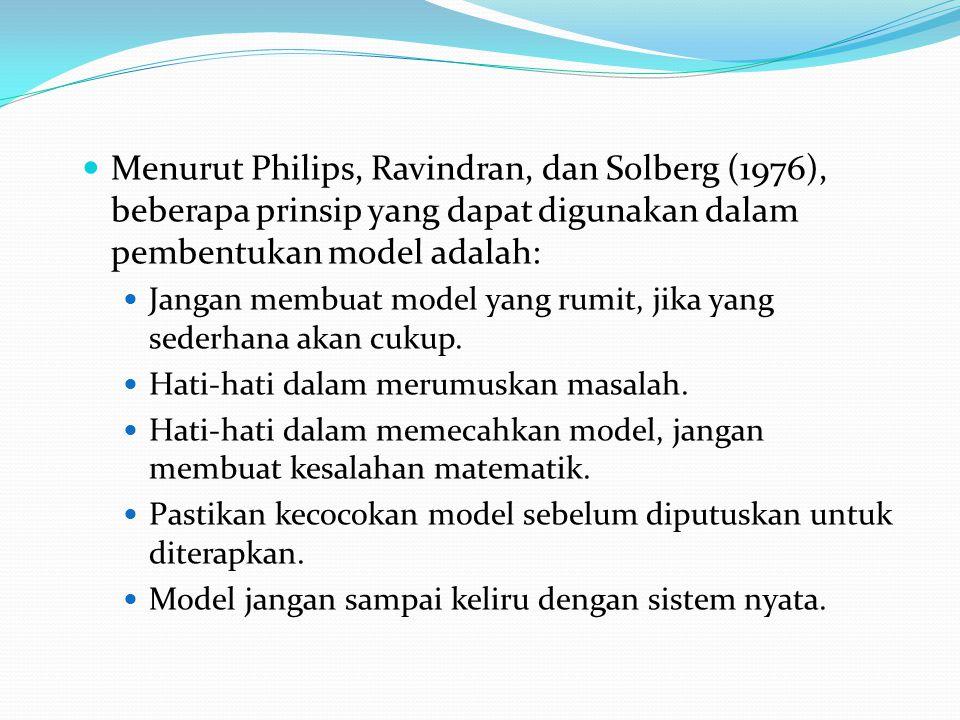 Menurut Philips, Ravindran, dan Solberg (1976), beberapa prinsip yang dapat digunakan dalam pembentukan model adalah: Jangan membuat model yang rumit,