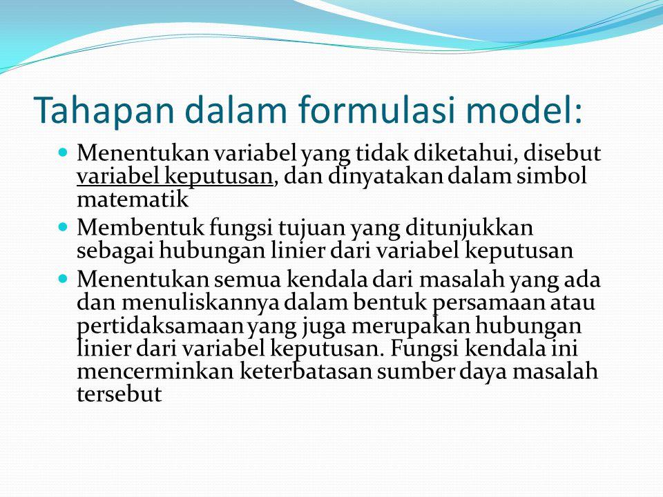 Tahapan dalam formulasi model: Menentukan variabel yang tidak diketahui, disebut variabel keputusan, dan dinyatakan dalam simbol matematik Membentuk fungsi tujuan yang ditunjukkan sebagai hubungan linier dari variabel keputusan Menentukan semua kendala dari masalah yang ada dan menuliskannya dalam bentuk persamaan atau pertidaksamaan yang juga merupakan hubungan linier dari variabel keputusan.