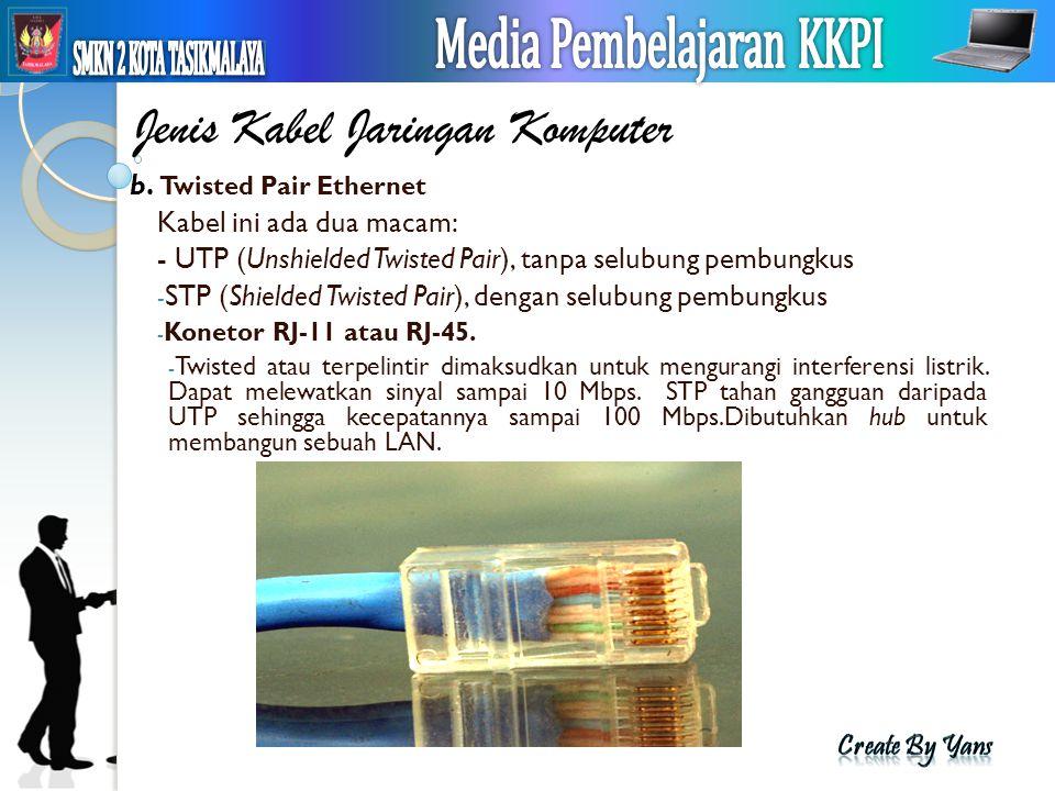 Jenis Kabel Jaringan Komputer b. Twisted Pair Ethernet Kabel ini ada dua macam: - UTP (Unshielded Twisted Pair), tanpa selubung pembungkus - STP (Shie