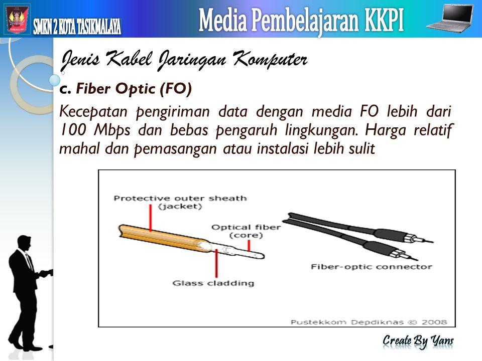 Jenis Kabel Jaringan Komputer c. Fiber Optic (FO) Kecepatan pengiriman data dengan media FO lebih dari 100 Mbps dan bebas pengaruh lingkungan. Harga r