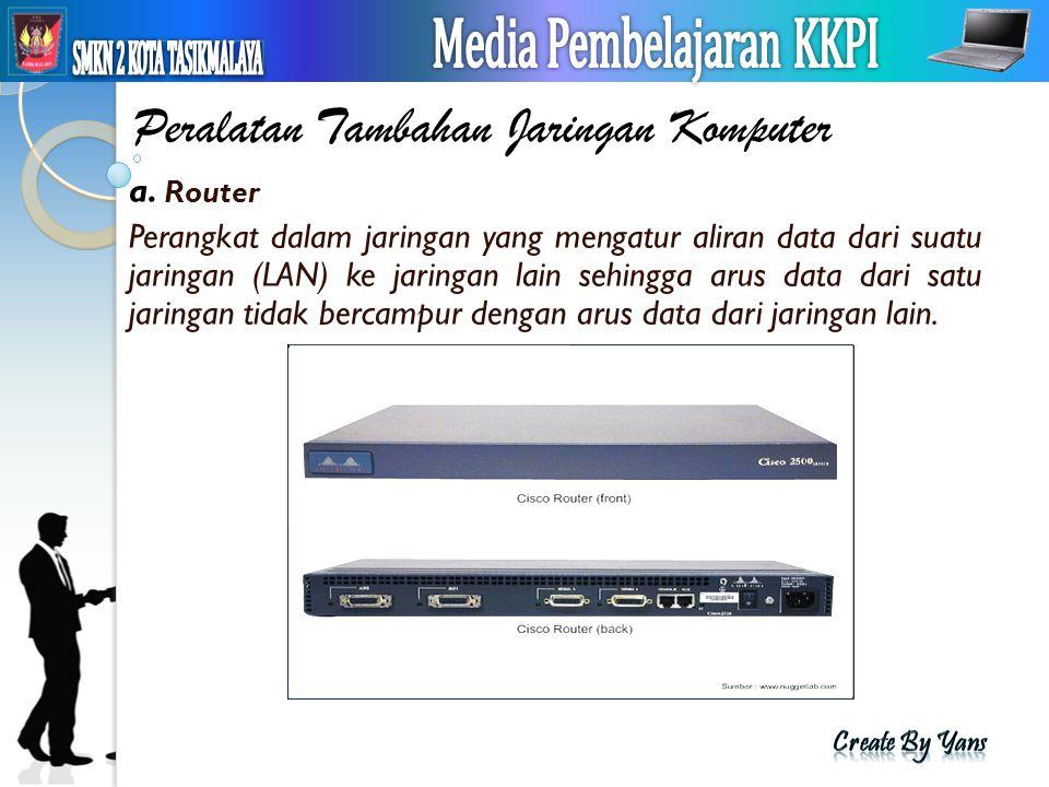 Peralatan Tambahan Jaringan Komputer a. Router Perangkat dalam jaringan yang mengatur aliran data dari suatu jaringan (LAN) ke jaringan lain sehingga