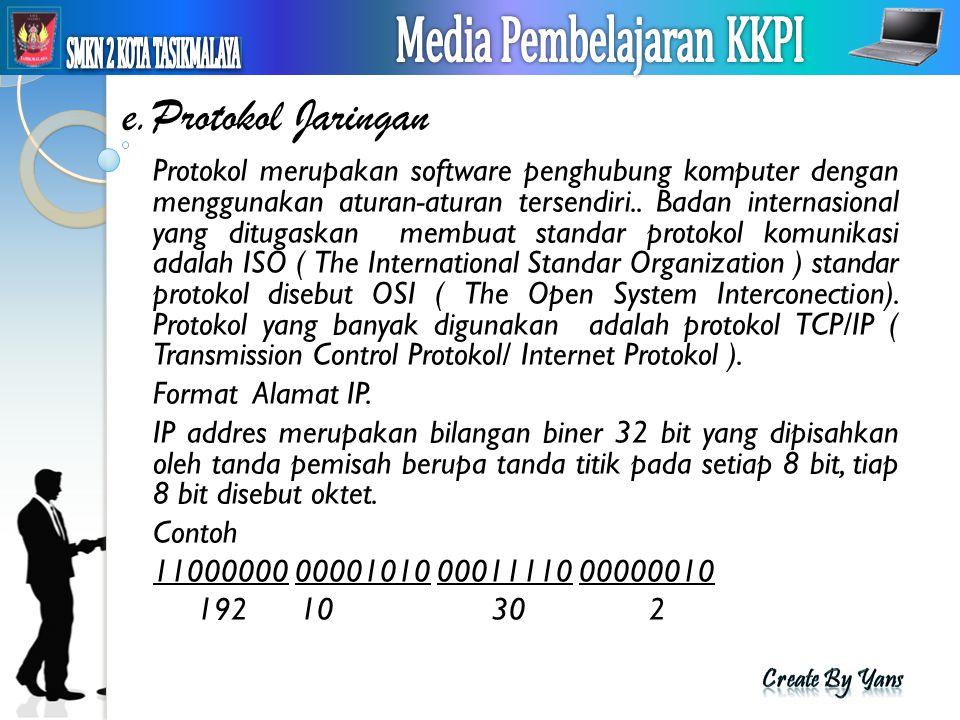 e.Protokol Jaringan Protokol merupakan software penghubung komputer dengan menggunakan aturan-aturan tersendiri.. Badan internasional yang ditugaskan