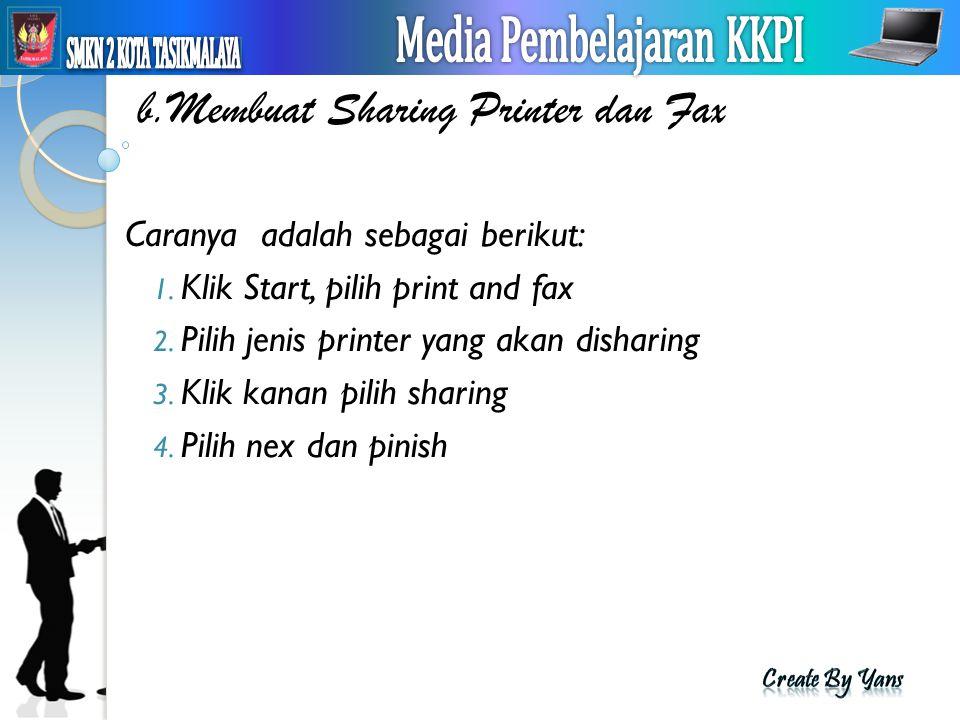 b.Membuat Sharing Printer dan Fax Caranya adalah sebagai berikut: 1. Klik Start, pilih print and fax 2. Pilih jenis printer yang akan disharing 3. Kli