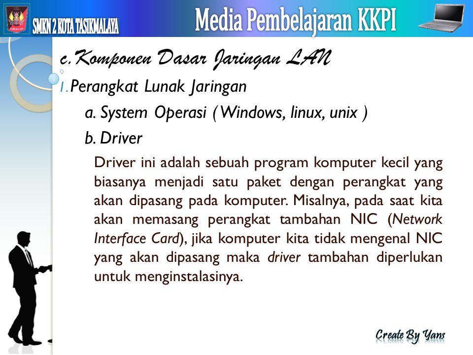 c.Komponen Dasar Jaringan LAN 1. Perangkat Lunak Jaringan a. System Operasi ( Windows, linux, unix ) b. Driver Driver ini adalah sebuah program komput