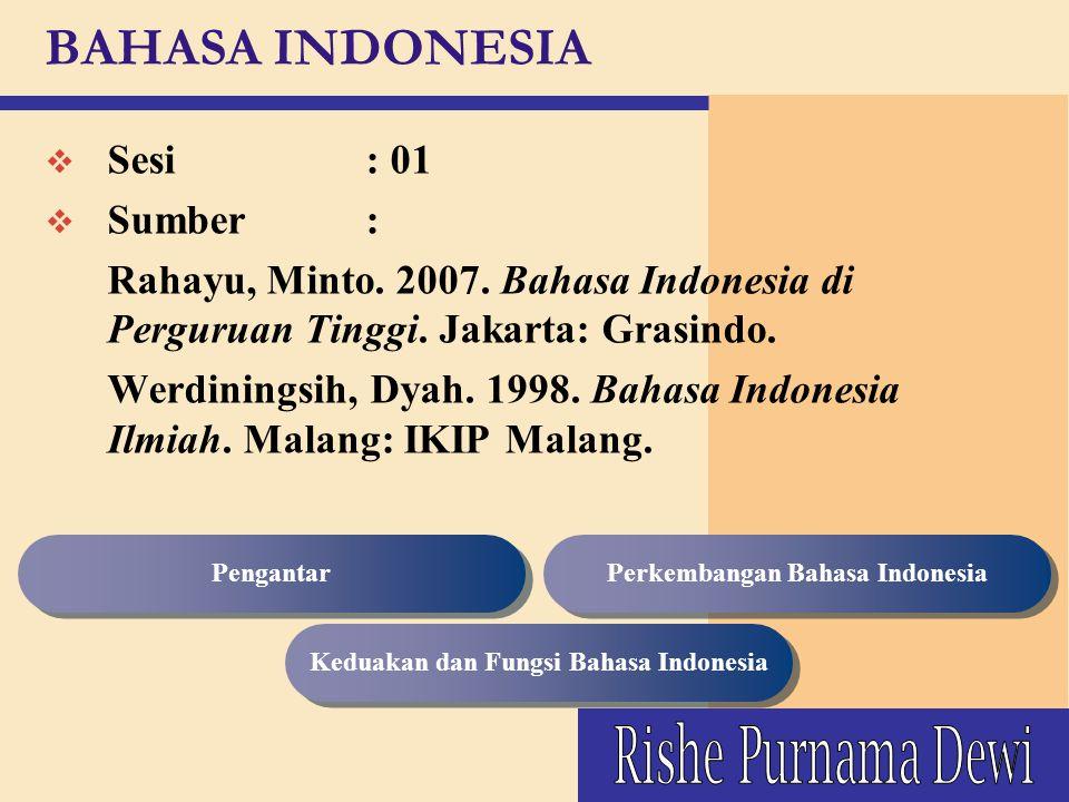 BAHASA INDONESIA v Sesi : 01 v Sumber : Rahayu, Minto. 2007. Bahasa Indonesia di Perguruan Tinggi. Jakarta: Grasindo. Werdiningsih, Dyah. 1998. Bahasa