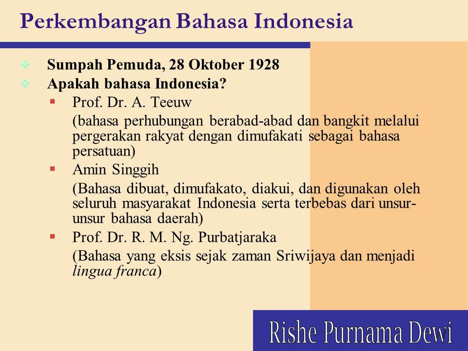 v Sumpah Pemuda, 28 Oktober 1928 v Apakah bahasa Indonesia?  Prof. Dr. A. Teeuw (bahasa perhubungan berabad-abad dan bangkit melalui pergerakan rakya
