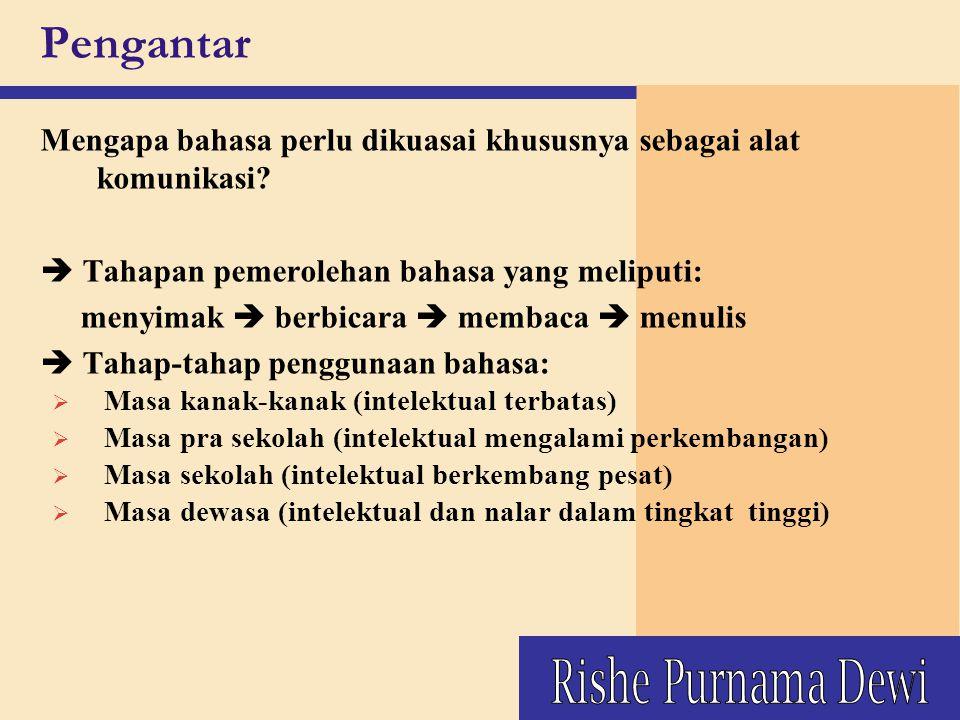 Pengantar Tentukan hal-hal yang mempengaruhi penguasaan bahasa sebagai alat komunikasi.