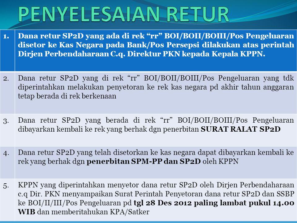 1.Dana retur SP2D yang ada di rek rr BOI/BOII/BOIII/Pos Pengeluaran disetor ke Kas Negara pada Bank/Pos Persepsi dilakukan atas perintah Dirjen Perbendaharaan C.q.