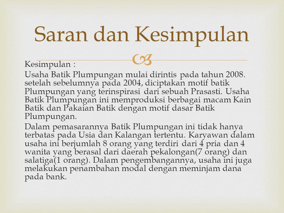  Kesimpulan : Usaha Batik Plumpungan mulai dirintis pada tahun 2008.