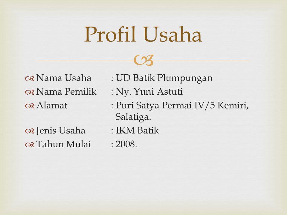   Nama Usaha: UD Batik Plumpungan  Nama Pemilik: Ny.