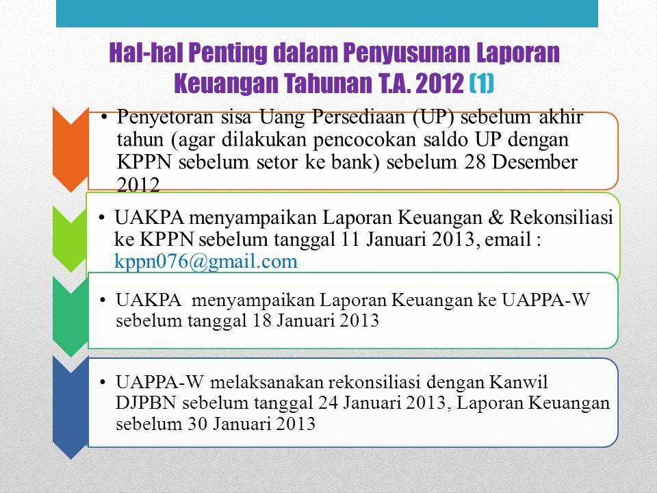 Hal-hal Penting dalam Penyusunan Laporan Keuangan Tahunan T.A. 2012 (1) Penyetoran sisa Uang Persediaan (UP) sebelum akhir tahun (agar dilakukan penco