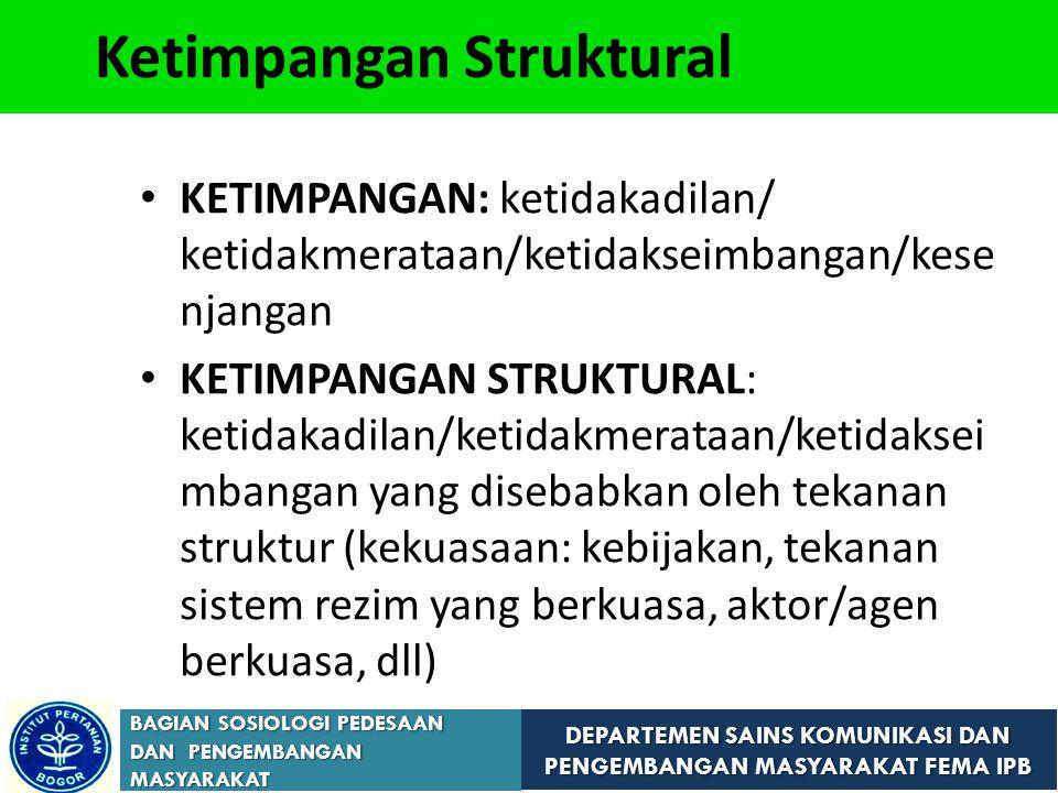 DEPARTEMEN SAINS KOMUNIKASI DAN PENGEMBANGAN MASYARAKAT FEMA IPB BAGIAN SOSIOLOGI PEDESAAN DAN PENGEMBANGAN MASYARAKAT Ketimpangan Struktural KETIMPANGAN: ketidakadilan/ ketidakmerataan/ketidakseimbangan/kese njangan KETIMPANGAN STRUKTURAL: ketidakadilan/ketidakmerataan/ketidaksei mbangan yang disebabkan oleh tekanan struktur (kekuasaan: kebijakan, tekanan sistem rezim yang berkuasa, aktor/agen berkuasa, dll)