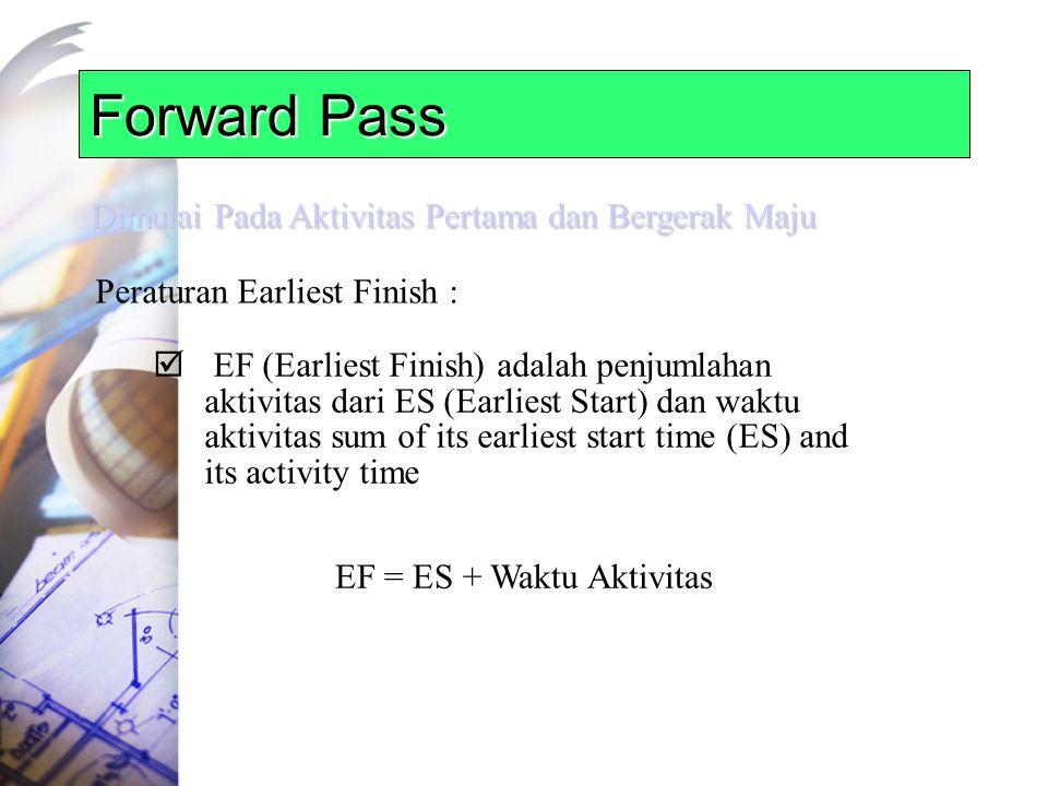 Forward Pass Dimulai Pada Aktivitas Pertama dan Bergerak Maju Peraturan Earliest Finish :  EF (Earliest Finish) adalah penjumlahan aktivitas dari ES (Earliest Start) dan waktu aktivitas sum of its earliest start time (ES) and its activity time EF = ES + Waktu Aktivitas