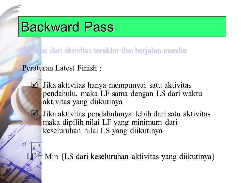 Backward Pass Dimulai dari aktivitas terakhir dan berjalan mundur Peraturan Latest Finish :  Jika aktivitas hanya mempunyai satu aktivitas pendahulu, maka LF sama dengan LS dari waktu aktivitas yang diikutinya  Jika aktivitas pendahulunya lebih dari satu aktivitas maka dipilih nilai LF yang minimum dari keseluruhan nilai LS yang diikutinya LF = Min {LS dari keseluruhan aktivitas yang diikutinya}