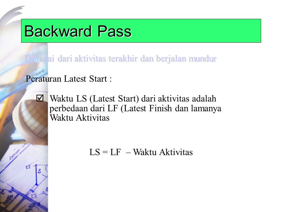 Backward Pass Dimulai dari aktivitas terakhir dan berjalan mundur Peraturan Latest Start :  Waktu LS (Latest Start) dari aktivitas adalah perbedaan dari LF (Latest Finish dan lamanya Waktu Aktivitas LS = LF – Waktu Aktivitas
