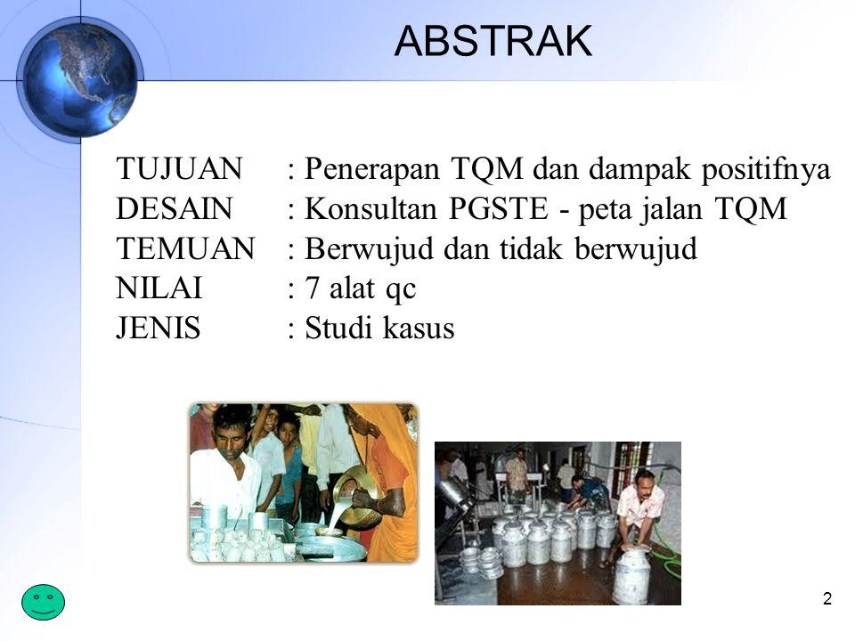 ABSTRAK 2 TUJUAN : Penerapan TQM dan dampak positifnya DESAIN : Konsultan PGSTE - peta jalan TQM TEMUAN : Berwujud dan tidak berwujud NILAI: 7 alat qc JENIS: Studi kasus