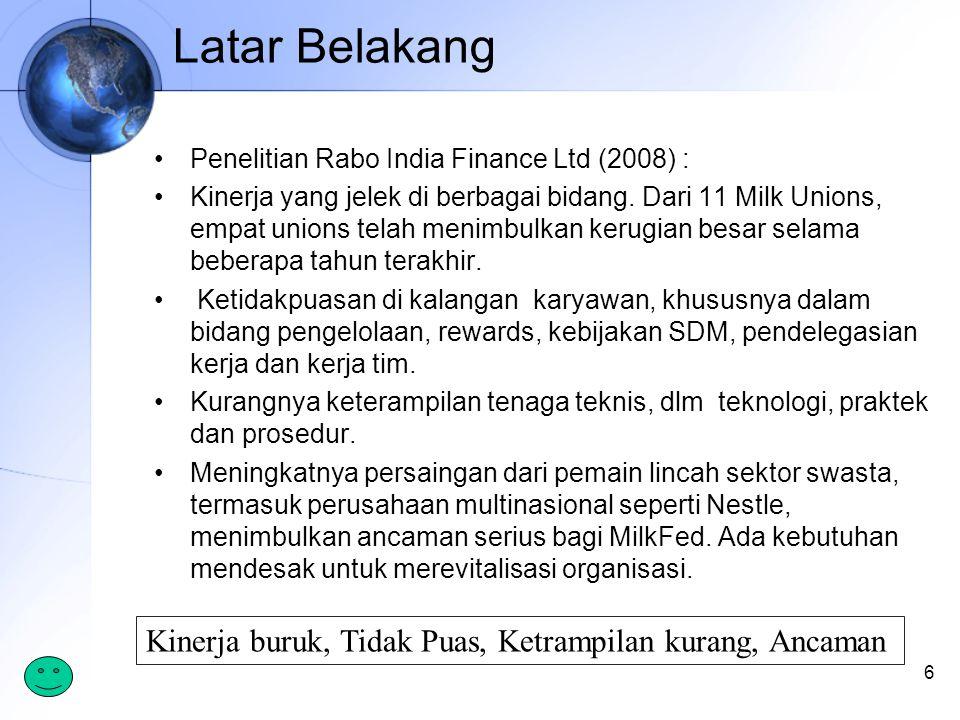 Latar Belakang Penelitian Rabo India Finance Ltd (2008) : Kinerja yang jelek di berbagai bidang.