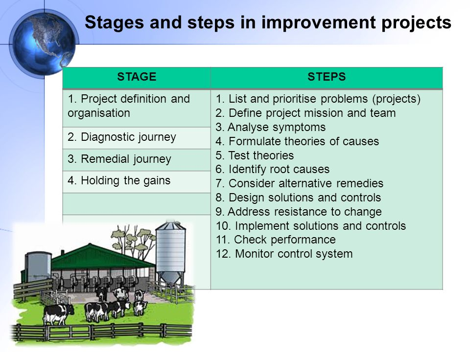 Stages and steps in improvement projects STAGESTEPS 1.