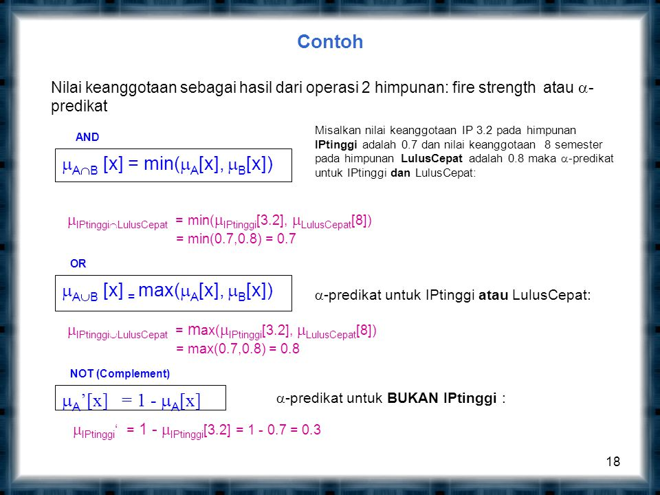 Contoh 18 AND  A  B [x]= min(  A [x],  B [x])  A  B [x] = max(  A [x],  B [x]) OR NOT (Complement)  A '[x] = 1 -  A [x]  IPtinggi  LulusCepat = min(  IPtinggi [3.2],  LulusCepat [8]) = min(0.7,0.8) = 0.7 Misalkan nilai keanggotaan IP 3.2 pada himpunan IPtinggi adalah 0.7 dan nilai keanggotaan 8 semester pada himpunan LulusCepat adalah 0.8 maka  -predikat untuk IPtinggi dan LulusCepat: Nilai keanggotaan sebagai hasil dari operasi 2 himpunan: fire strength atau  - predikat  -predikat untuk IPtinggi atau LulusCepat:  IPtinggi  LulusCepat = m ax(  IPtinggi [3.2],  LulusCepat [8]) = max(0.7,0.8) = 0.8  -predikat untuk BUKAN IPtinggi :  IPtinggi ' = 1 -  IPtinggi [3.2] = 1 - 0.7 = 0.3
