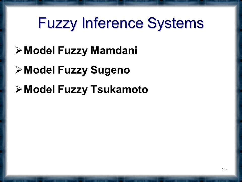 Fuzzy Inference Systems  Model Fuzzy Mamdani  Model Fuzzy Sugeno  Model Fuzzy Tsukamoto 27