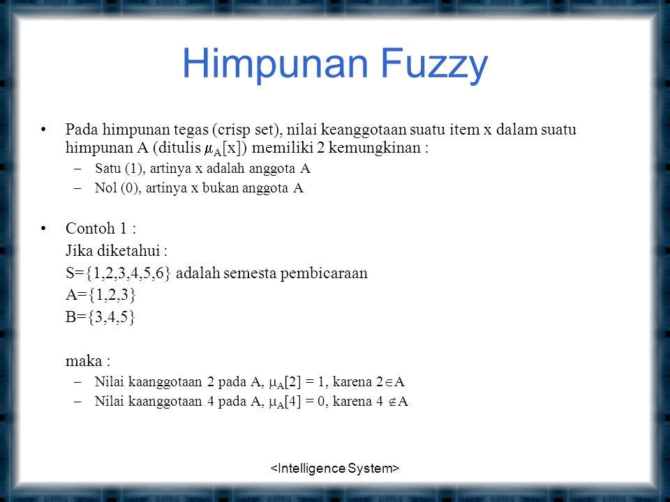 Himpunan Fuzzy Pada himpunan tegas (crisp set), nilai keanggotaan suatu item x dalam suatu himpunan A (ditulis  A [x]) memiliki 2 kemungkinan : –Satu (1), artinya x adalah anggota A –Nol (0), artinya x bukan anggota A Contoh 1 : Jika diketahui : S={1,2,3,4,5,6} adalah semesta pembicaraan A={1,2,3} B={3,4,5} maka : –Nilai kaanggotaan 2 pada A,  A [2] = 1, karena 2  A –Nilai kaanggotaan 4 pada A,  A [4] = 0, karena 4  A