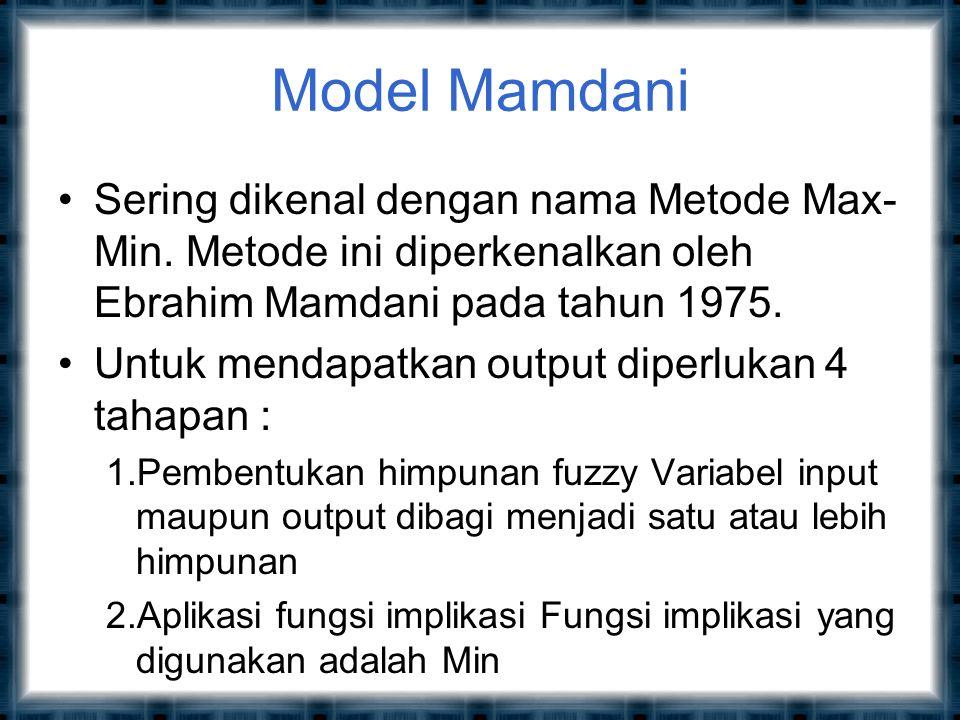 Model Mamdani Sering dikenal dengan nama Metode Max- Min.