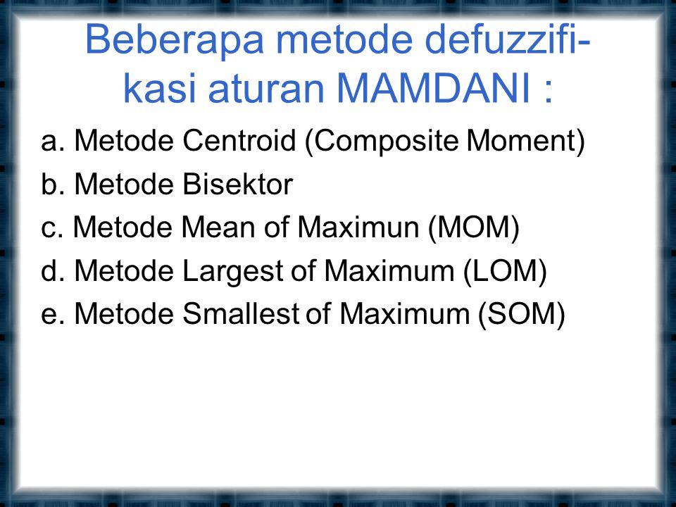 Beberapa metode defuzzifi- kasi aturan MAMDANI : a.