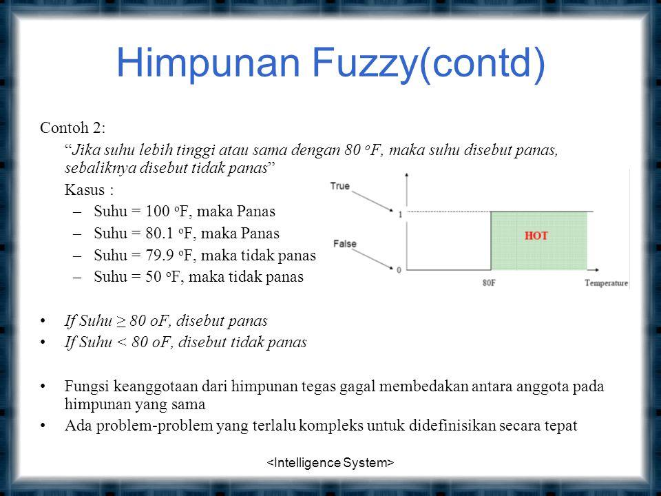 Himpunan Fuzzy(contd) Contoh 2: Jika suhu lebih tinggi atau sama dengan 80 o F, maka suhu disebut panas, sebaliknya disebut tidak panas Kasus : –Suhu = 100 o F, maka Panas –Suhu = 80.1 o F, maka Panas –Suhu = 79.9 o F, maka tidak panas –Suhu = 50 o F, maka tidak panas If Suhu ≥ 80 oF, disebut panas If Suhu < 80 oF, disebut tidak panas Fungsi keanggotaan dari himpunan tegas gagal membedakan antara anggota pada himpunan yang sama Ada problem-problem yang terlalu kompleks untuk didefinisikan secara tepat