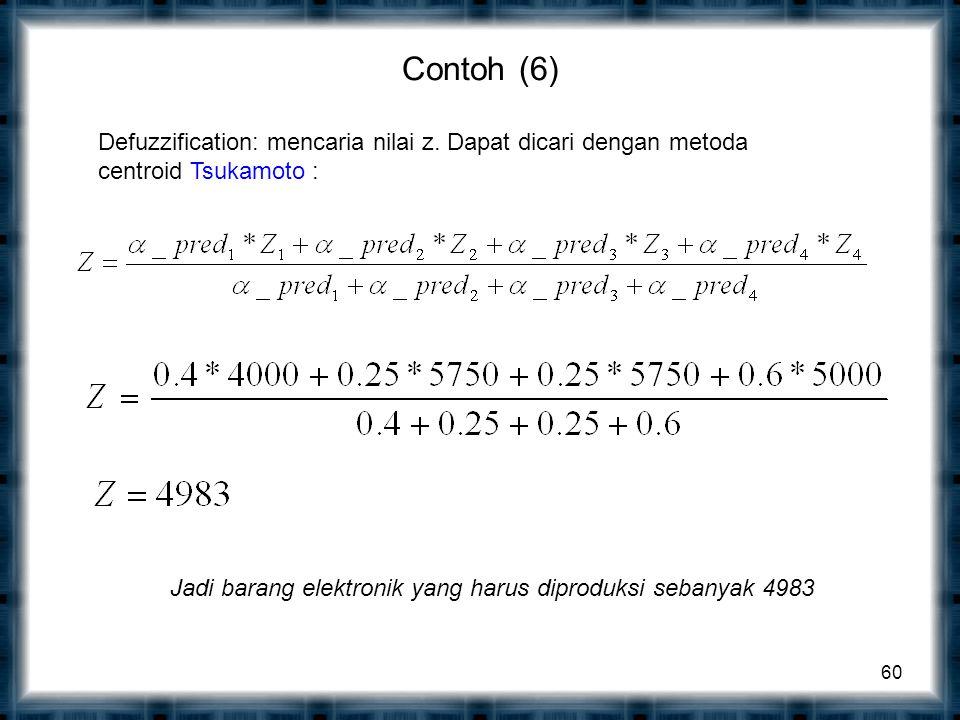 Contoh (6) 60 Defuzzification: mencaria nilai z.