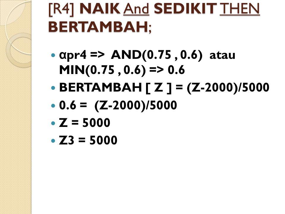 [R4] NAIK And SEDIKIT THEN BERTAMBAH; α pr4 => AND(0.75, 0.6) atau MIN(0.75, 0.6) => 0.6 BERTAMBAH [ Z ] = (Z-2000)/5000 0.6 = (Z-2000)/5000 Z = 5000