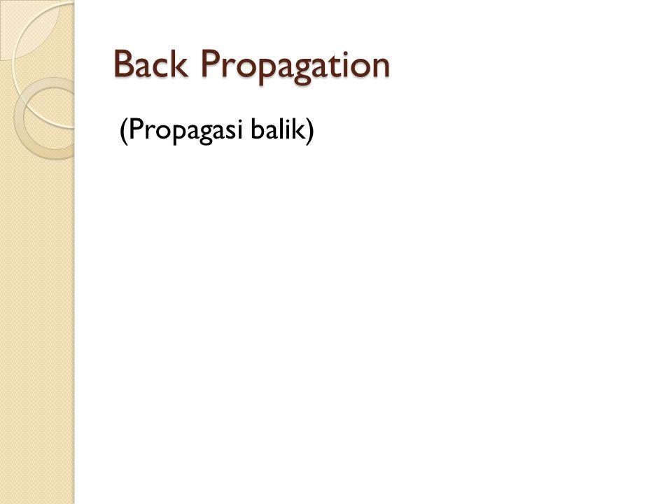 Back Propagation (Propagasi balik)