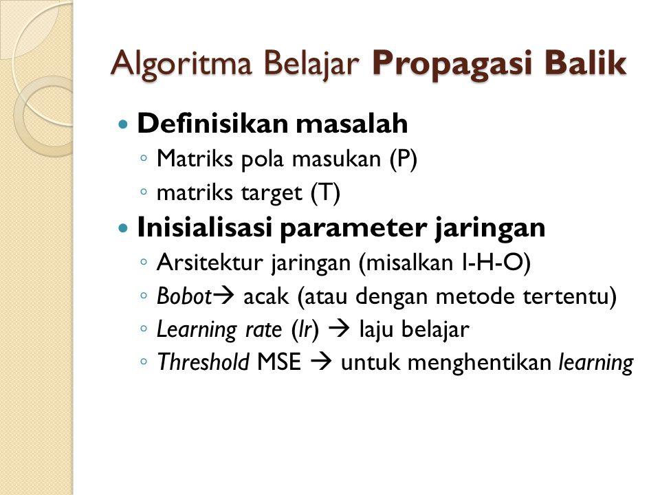 Algoritma Belajar Propagasi Balik Definisikan masalah ◦ Matriks pola masukan (P) ◦ matriks target (T) Inisialisasi parameter jaringan ◦ Arsitektur jar
