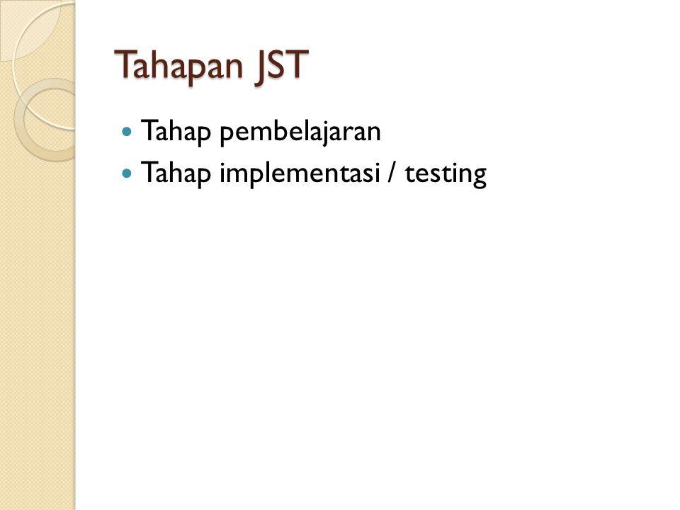 Tahapan JST Tahap pembelajaran Tahap implementasi / testing