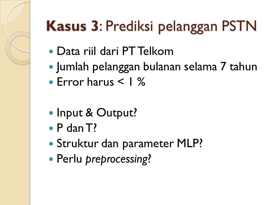Kasus 3: Prediksi pelanggan PSTN Data riil dari PT Telkom Jumlah pelanggan bulanan selama 7 tahun Error harus < 1 % Input & Output? P dan T? Struktur