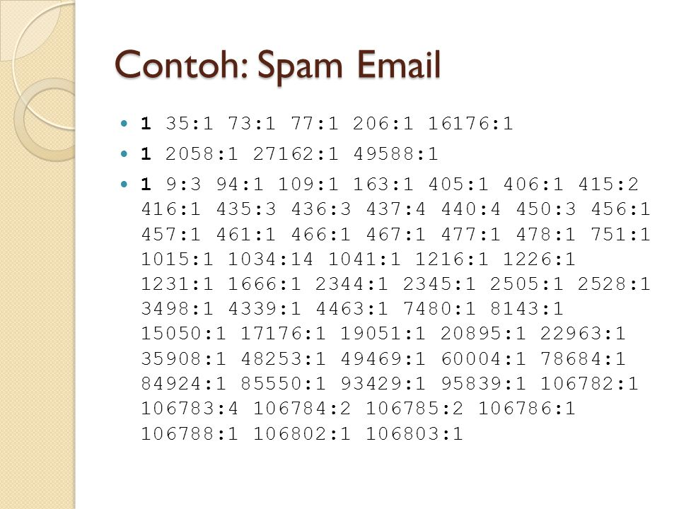 Contoh: Spam Email 1 35:1 73:1 77:1 206:1 16176:1 1 2058:1 27162:1 49588:1 1 9:3 94:1 109:1 163:1 405:1 406:1 415:2 416:1 435:3 436:3 437:4 440:4 450: