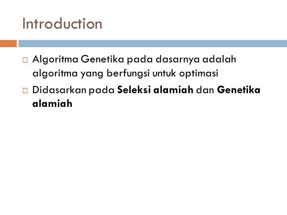 Introduction  Algoritma Genetika pada dasarnya adalah algoritma yang berfungsi untuk optimasi  Didasarkan pada Seleksi alamiah dan Genetika alamiah