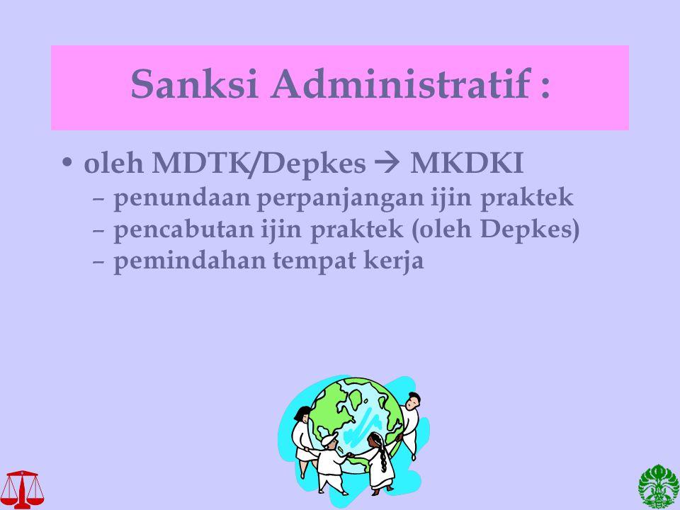Sanksi Administratif : oleh MDTK/Depkes  MKDKI – penundaan perpanjangan ijin praktek – pencabutan ijin praktek (oleh Depkes) – pemindahan tempat kerj