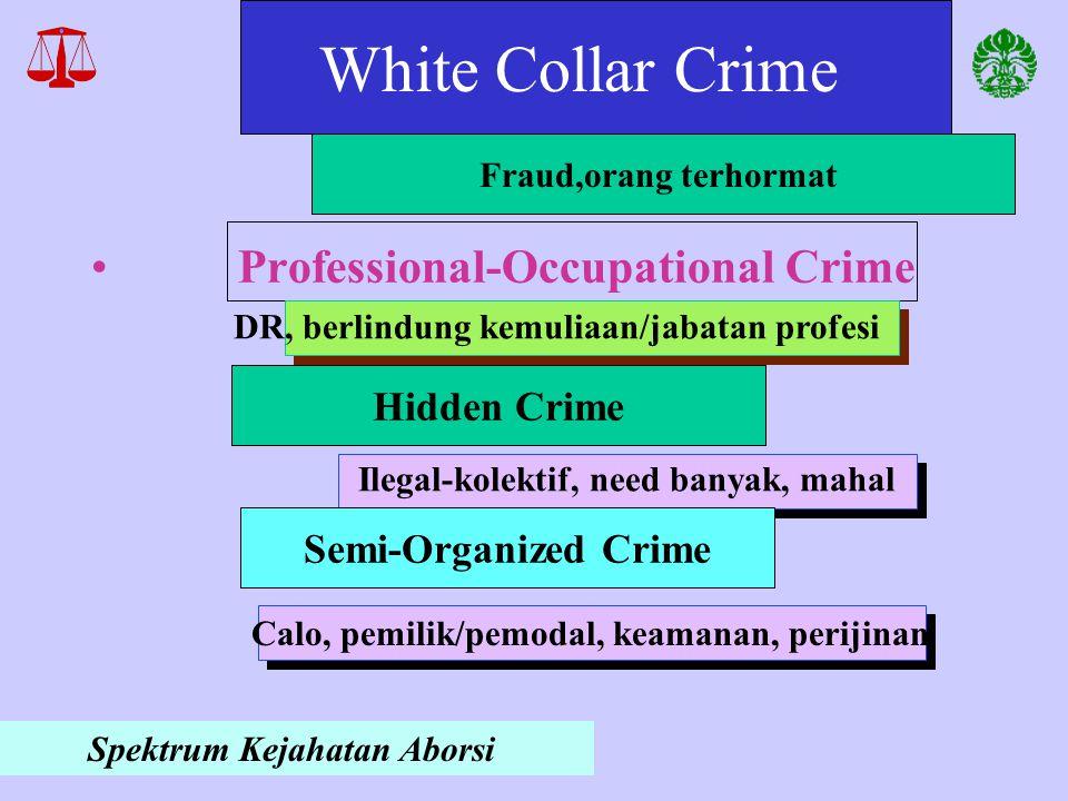 White Collar Crime Hidden Crime Fraud,orang terhormat Ilegal-kolektif, need banyak, mahal Spektrum Kejahatan Aborsi Semi-Organized Crime Calo, pemilik